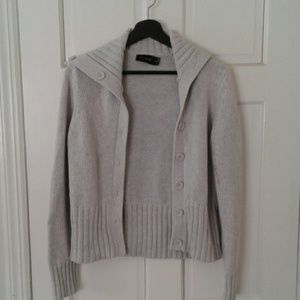 Gray cable knit cardigan sweater